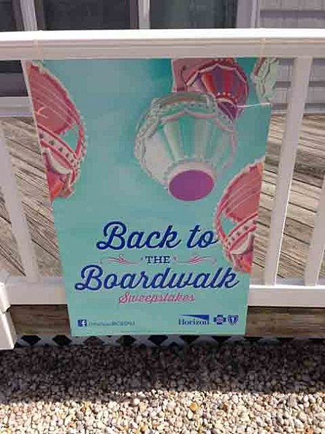 Sign announcing the Back to the Boardwalk Sweepstakes