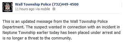 Wall Police Facebook message