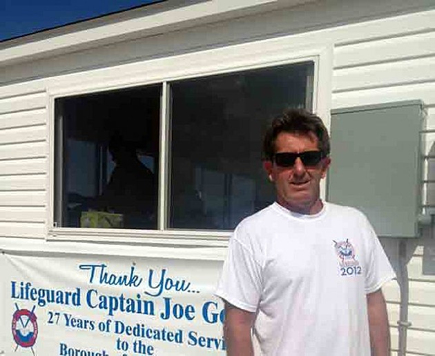Joe Gomulka outside the temporary Beach Patrol headquarters