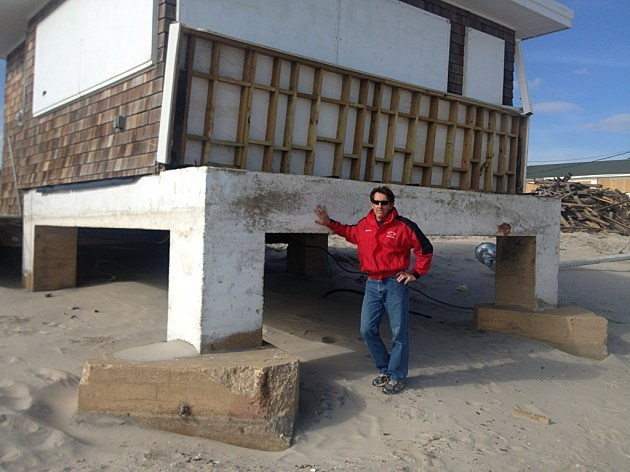 Joe Gomulka in front of the old Beach Patrol headquarters before it was torn down