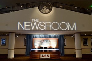 "Replica of ""The Newsroom's"" set at the Paramount Theater on the Paramount Studios lot"
