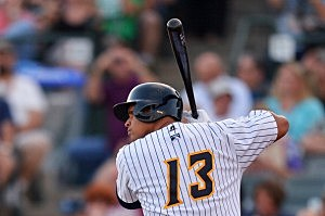 Alex Rodriguez stands at bat in the first inning during a rehab game for the Trenton Thunder