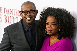 Forest Whitaker (L) and Oprah Winfrey attend the Los Angeles premiere of The Butler
