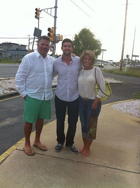 Kevin (L) and his wife Jane (R) with son Brandon at his birthday dinner