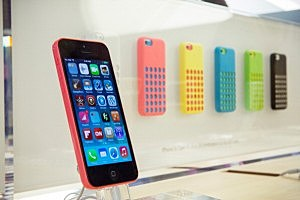 The iPhone 5C is seen on display at the Fifth Avenue Apple store