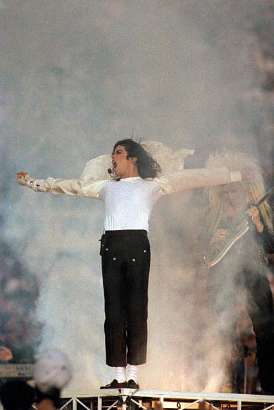 Michael Jackson performs during halfime of  Super Bowl XXVII in 1993