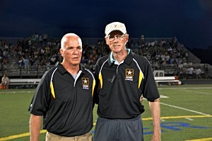 Southern Regional head football coach Chuck Donohue (left) with former Rams coach Ron Emmert who will have the field dedicated in his name tonight