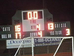 Scoreboard shows final score of Pinelands-Point game