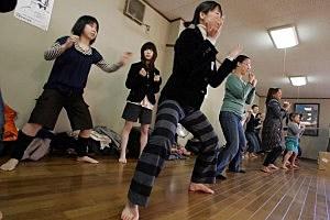 Sumo wrestler excercise class