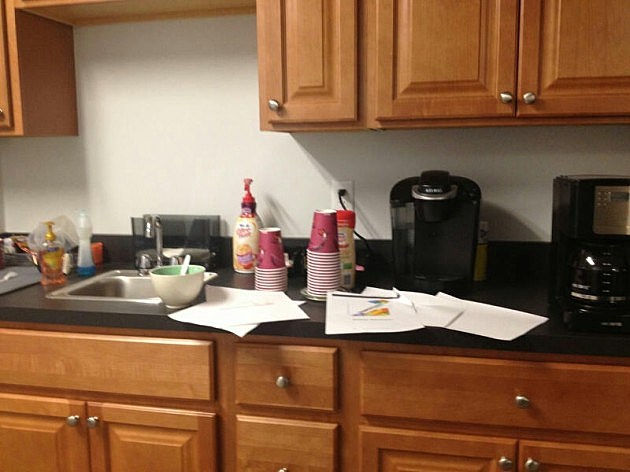 Kevin's pet peeve: a messy work kitchen