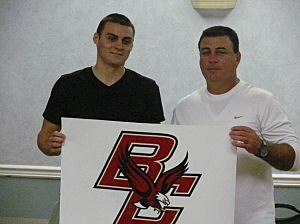Point Beach senior point guard Matt Farrell, pictured with his father, Bob Farrell, announced on Tuesday that he has verbally committed to Boston College.