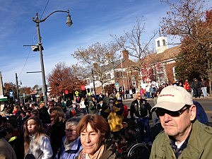 Crowd along the route of the Ocean County Veteran's Day Parade