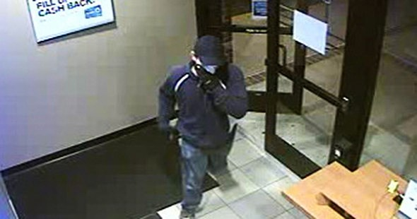 Still from surveillance video of Chase Bank robber