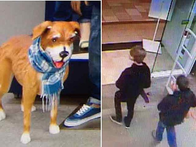 (L-R) Dog mannequin stolen from Old Navy at Ocean County Mall; suspects leave the store