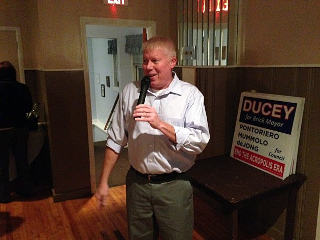 John Ducey delivers a victory speech as Brick's newly elected mayor