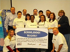 Oyster Creek employees celebrate their record-breaking $301,000 donation for the United Way of Ocean County