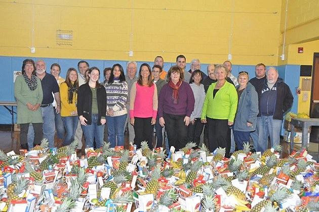 Thanksgiving baskets prepared by staff and retirees from Manchester High School