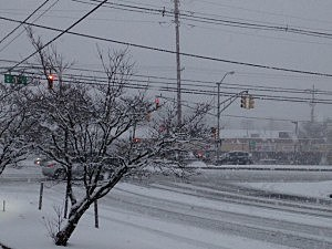 Route 37 in Toms River during Sunday's snow