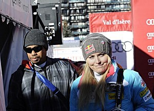 Tiger Woods and Lindsey Vonn during the Audi FIS Alpine Ski World Cup Women's Downhill on December 21, 2013 in Val d'Isere, France.