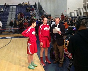 Katelynn Flaherty (left) and Marina Mabry of Point Beach after a win over Trenton Catholic at the Tournament of Champions