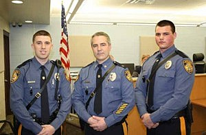 (L-R) Officer Michael Galvin, Chief of Police Steven R. Peters and Officer Zachary Rhein
