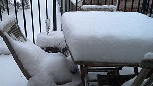 A snowy picnic table in Atlantic County