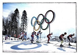 A general view during the Cross Country Men's 4x10km Relay at the Sochi 2014 Winter Olympics