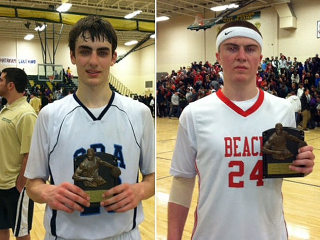 Players of the game  (L) Louie Pillari from CBA and  Point Beach's Noah Yates
