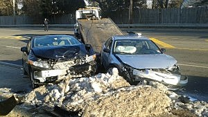 Crash Scene on Whitesville Road, Toms River, Friday Morning 2-7-14 (Toms River PD)