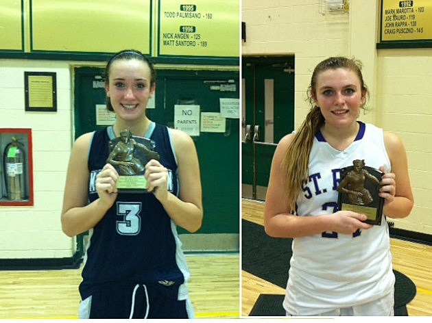 Players of the game (L-R) Marina Mabrey of Manasquan and Kat Phipps from St. Rose