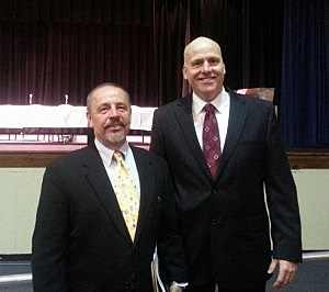 (L-R) Board President Joseph Tarrone and newly appointed Superintendent David Healy