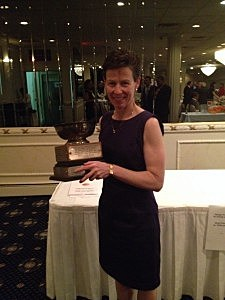 Maureen McCann with the Joe Callano Award for her contributions to officiating as a member of Shore District Board