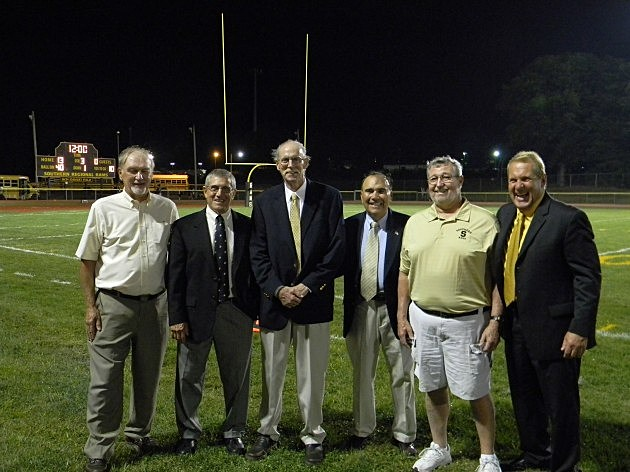 (L-R) Former Southern Superintendent) Ken Arndt, former teacher/coachTony Sermarini, Ron Emmert, former teacher/coach Dave Di Eugenio, former Athletic Director/Teacher/Coach Jim Hutchinson and current Superintendent Mr. Craig Henry.