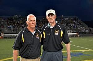 Ron Emmert & current Southern football coach Chuck Donohue Sr. being inducted into the Shore Conference Football Hall of Fame at halftime of the 2013 US Army All Shore at Toms River North High School. The pair were also inducted with former Matawan coach Joe Martucci, and Shore Conference coaches-turned-broadcasters Bob Strangia, George Jack & Ken Turp.
