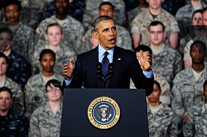 President Barack Obama delivers remarks for the U.S. military personnel at Yongsan Army Garrison in Seoul, South Korea