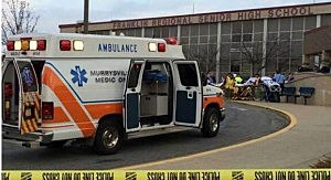 Ambulance outside Franklin Regional HIgh School near Pittsburgh following a stabbing incident