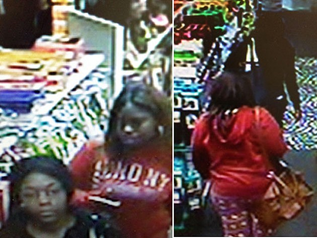 Screen shot of surveillance of suspects at Lakewood Beauty Shop shoplifting