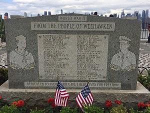Monument honoring veterans along the Hudson River in Weehawken
