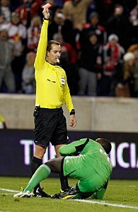 Referee Mark Geiger on the field as an MLS referee in 2012