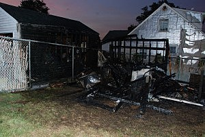 Shed that caught fire early Sunday in Sayreville