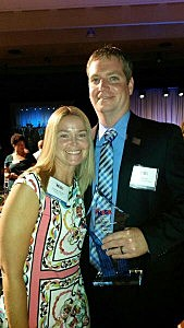 Scott Stump and his wife Amanda at ceremony