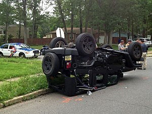 Jeep that flipped over in an accident in Toms River