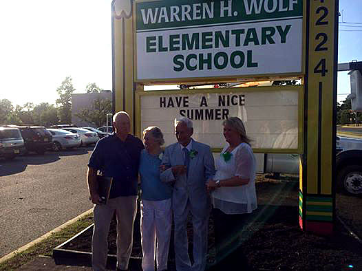 The Wolf Family at the dedication of the Warren Wolf Elementary School in Brick