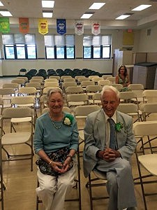 Warren Wolf and his wife Peggy at the dedication of the Dedication of the Warren Wolf Elementary School in Brick