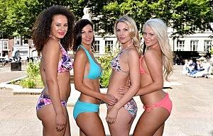 Models pose to celebrate National Bikini Day