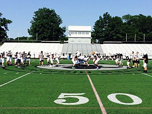The Toms River East football team practices for the upcoming season