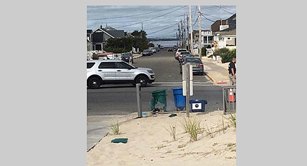Trash can in Seaside Park following an explosion