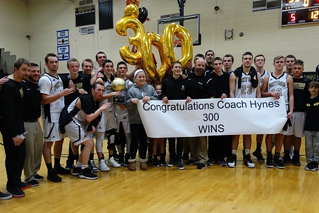 Point Boro celebrates coach Kevin Hynes's 300th career win.