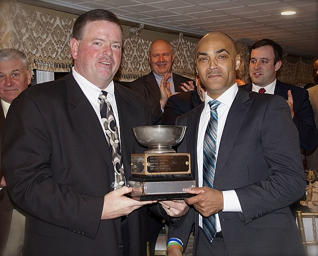 James Lester (right) receives the Joe Callano Award from Shore District Board #194 President Mike Fogarty. The award is the highest honor presented to an active official