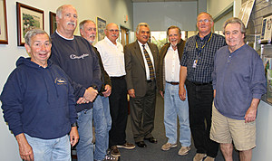 Ocean County Freeholder Dir. Joe Vicari (c) and Pumpout Boat Captains Val Varga, Robert Cardwell,  Dick Gouldey, Steven Holiday, George Ward, Richard Christen, Harry Thorne. Not shown: Mario Riccio, John Lippincott (Ocean Co. Public Information)